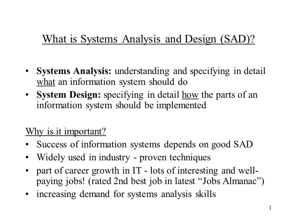What Is Systems Analysis And Design Sad Ppt Video Online Download