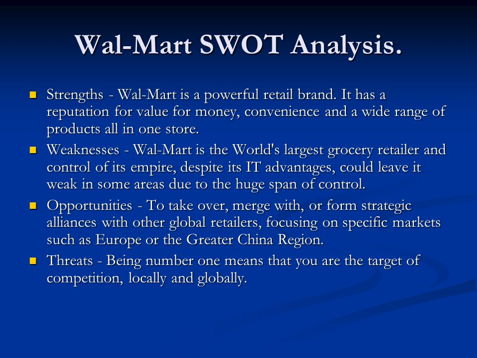 Wal-Mart SWOT Analysis