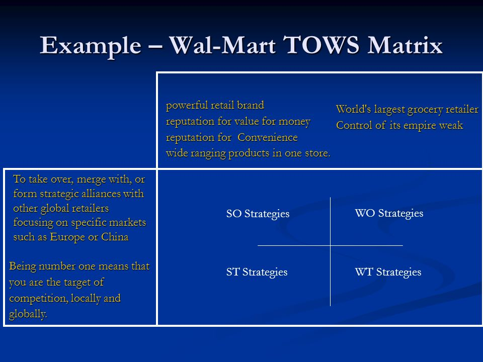 walmart tows matrix Swot & tows analysis sharjah  ocomapplication of the tows matrix to volkswagen weaknesses and threats (wt) weaknesses and opportunities (wo) strengths and .