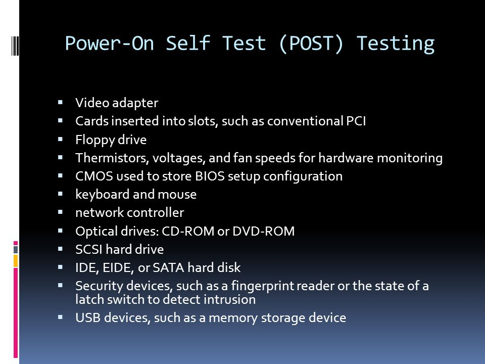 the power on self test using The system bios provides a rudimentary power-on self-test the basic devices required for the server to operate are checked, memory is tested, the disk controller and attached disks are probed and enumerated, and the two intel dual gigabit ethernet controllers are initialized.