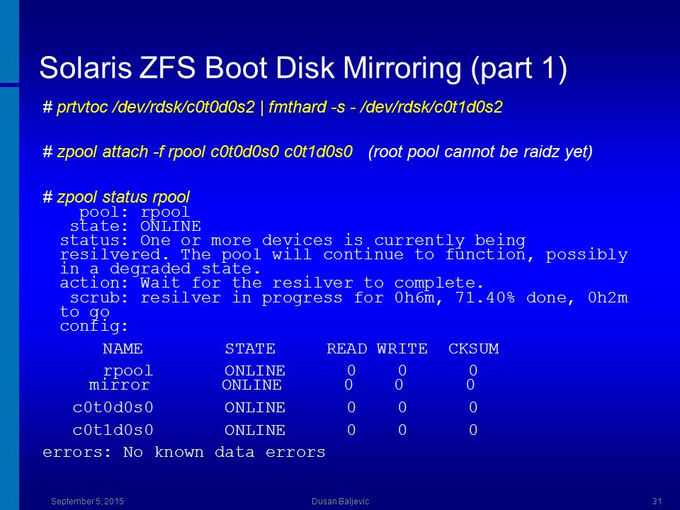 Solaris zfs boot on sparc ppt download for Mirror 0 zfs