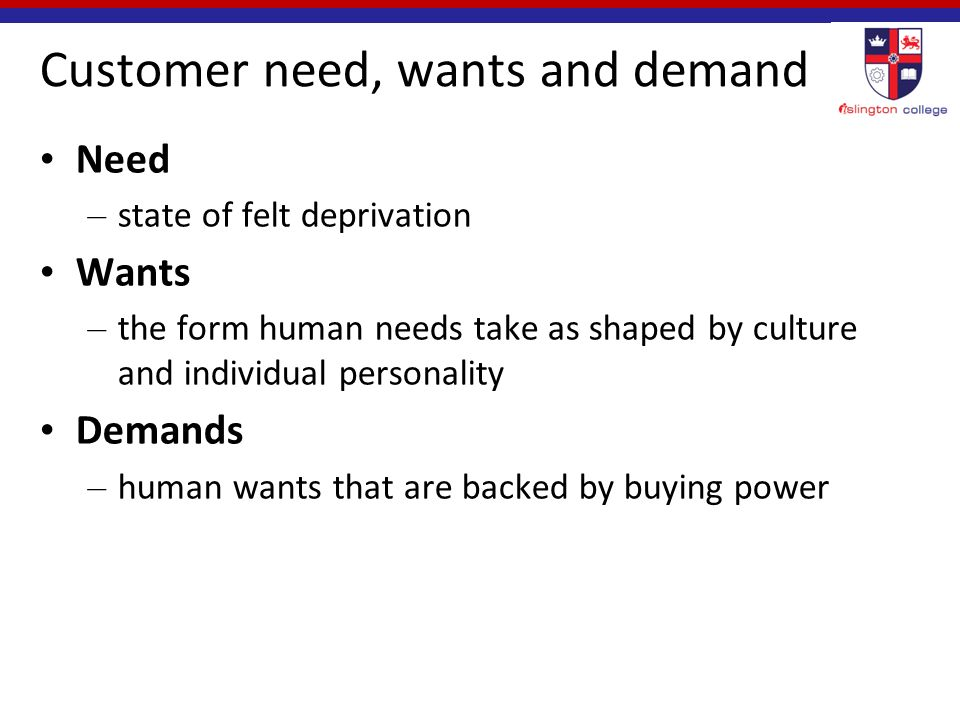 marketing needs wants and demands Needspdf it can be pretty confusing when you consider needs, wants and demands from an article by walter white - needs, wants and demands are all marketing concepts and play a vital role in terms of marketing management they help us build a strong relationship with the customer – customer level.