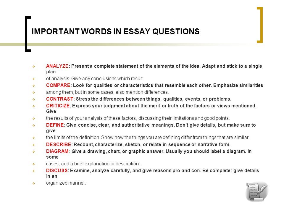 important words in essay questions What is a well written answer to an essay question it is well focused be sure to answer the question completely, that is, answer all parts of the question.