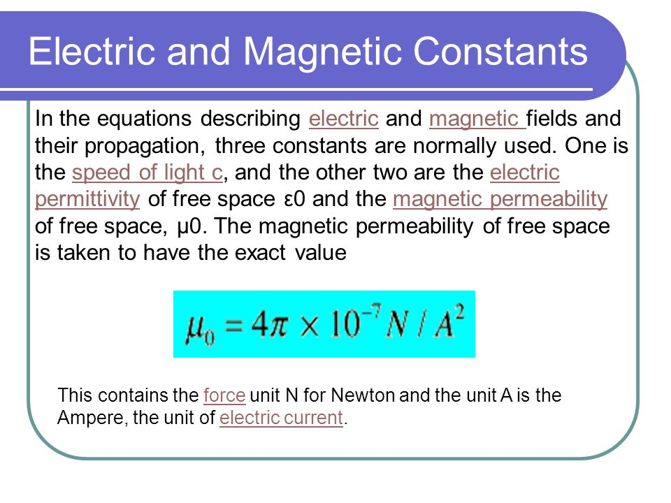 Electricity And Magnetism Constants
