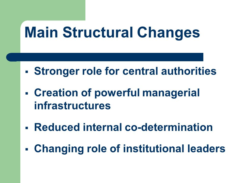 Main Structural Changes