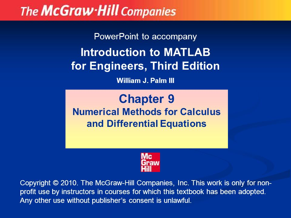 Chapter 9 Introduction To MATLAB For Engineers Third Edition
