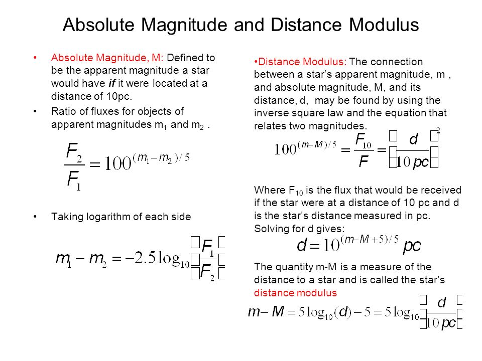 absolute magnitude equation. absolute magnitude and distance modulus equation t