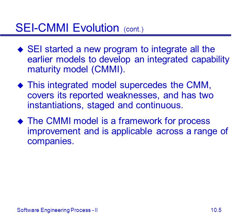 SEI-CMMI Evolution (cont.)