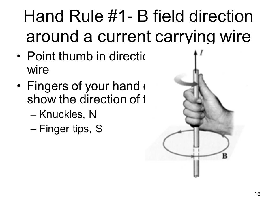 Hand Rule #1- B field direction around a current carrying wire