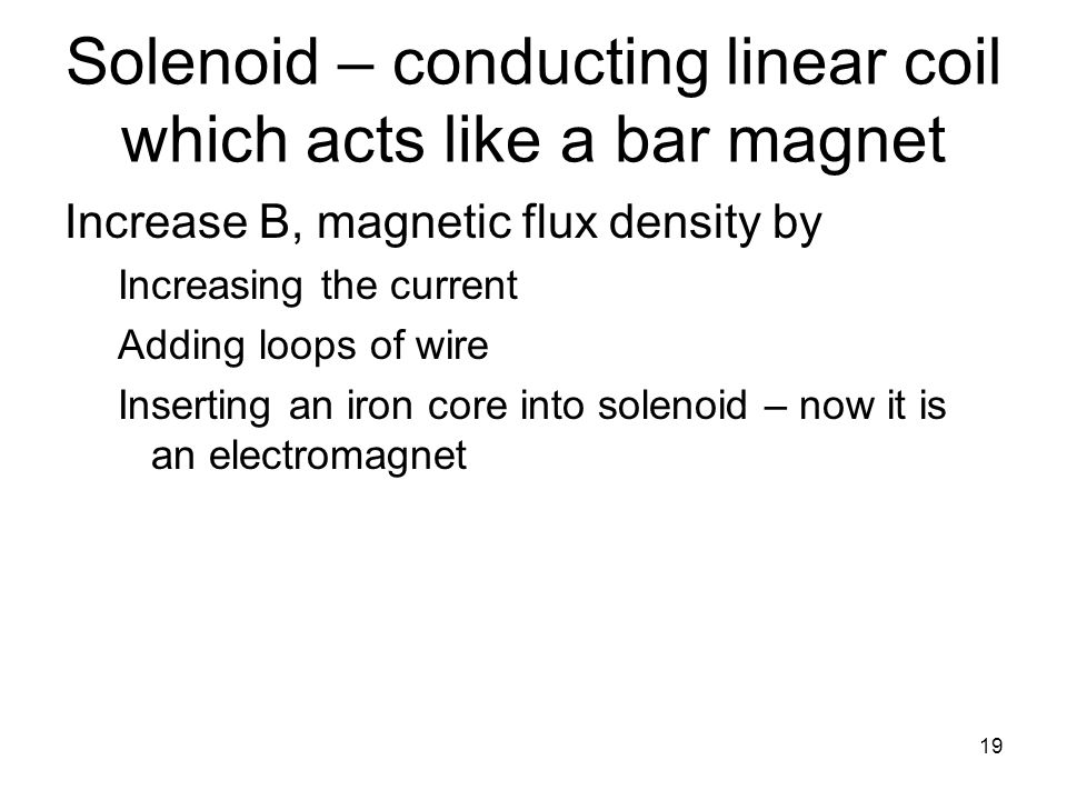 Solenoid – conducting linear coil which acts like a bar magnet