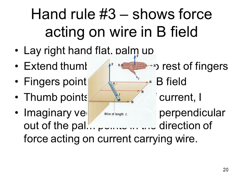 Hand rule #3 – shows force acting on wire in B field