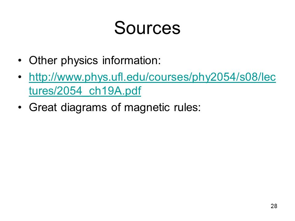 Sources Other physics information:
