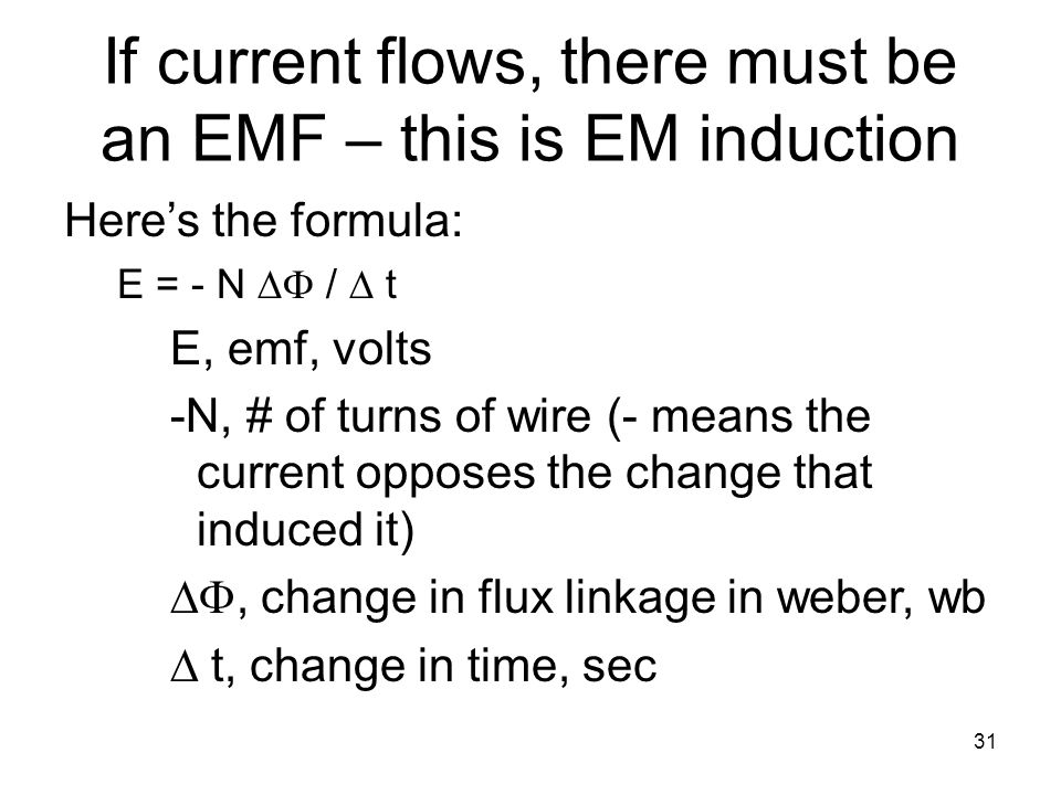 If current flows, there must be an EMF – this is EM induction