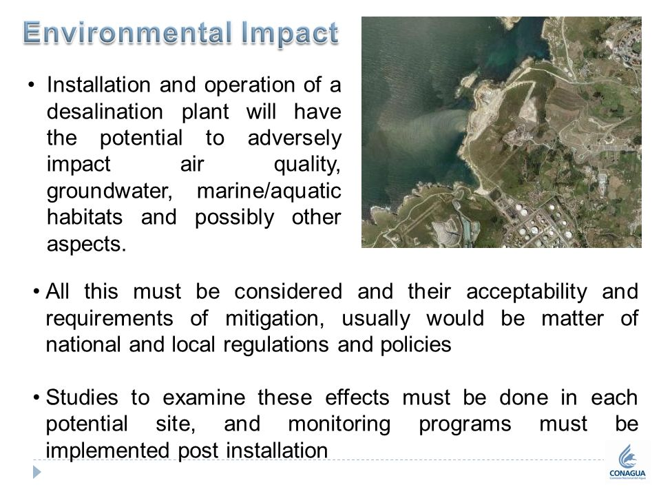 a study on the environmental impact of desalination Environmental impact assessments for any the study area contained a diverse 134 desalination: a national perspective box.