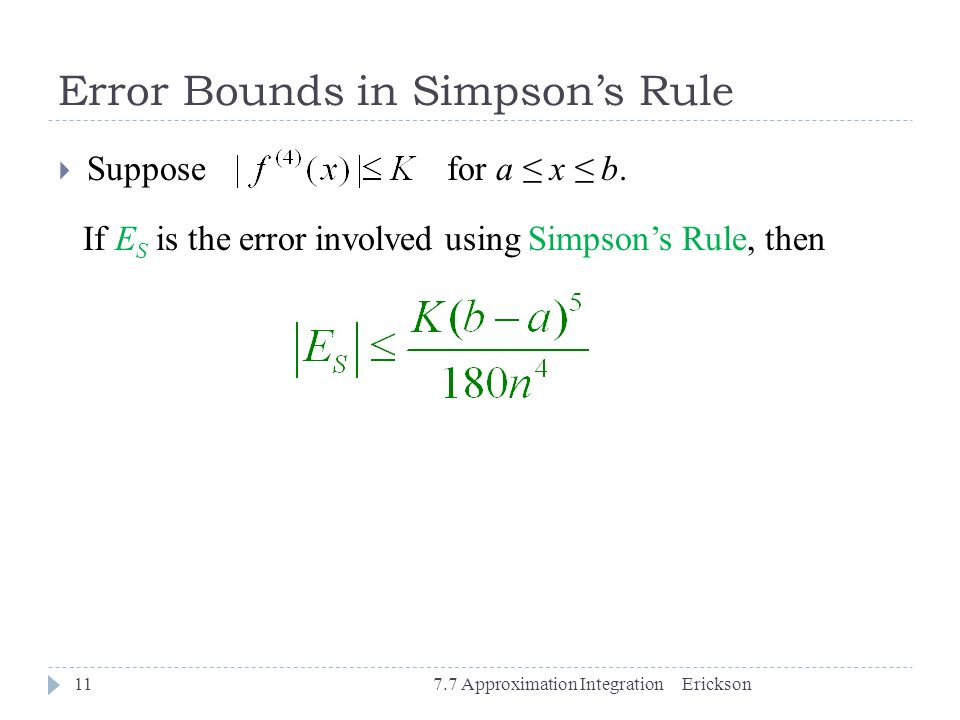 Error Bounds in Simpson's Rule