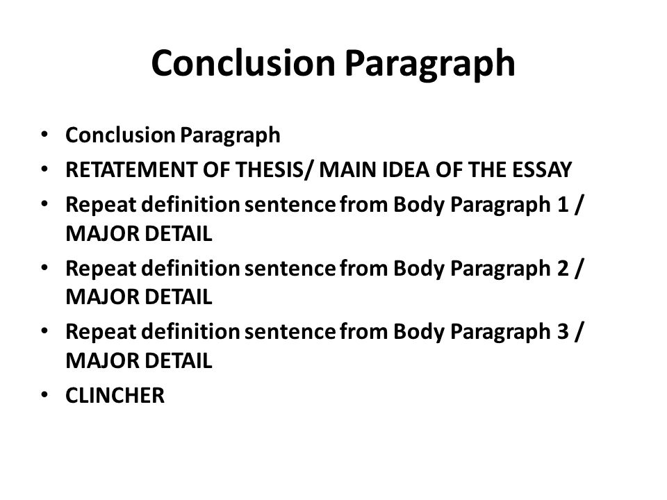 restatement of the thesis and a conclusion paragraph Essay conclusions learn about the but you can put your thesis into the conclusion anywhere—the first sentence of the paragraph essay conclusions paragraph.