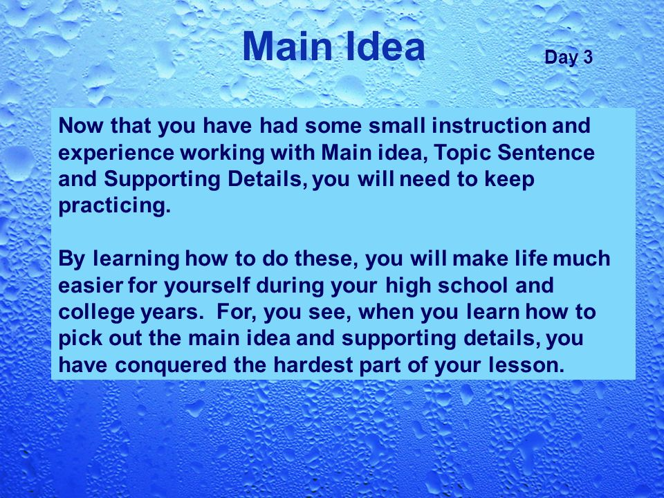 Main Idea Topic Sentence Supporting Details ppt video online – Main Idea Worksheets High School