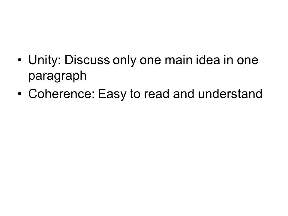 Parts of a Paragraph Topic Sentences  Supporting Sentences     SlideShare Unity is when all the parts of each paragraph lead toward the same main  point as established in that paragraph s topic sentence  while