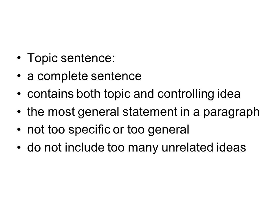 the most general statement in an essay is the