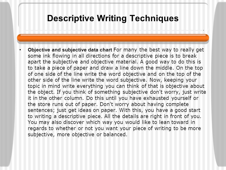 descriptive paragraph writing topics