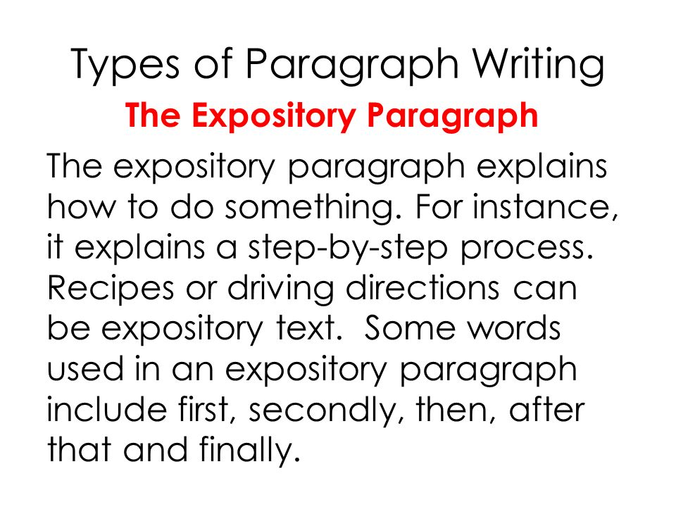 expository paragraph example • for example, if you wrote about expository/informative essay • each body paragraph will be on one of the 3 points you listed in.