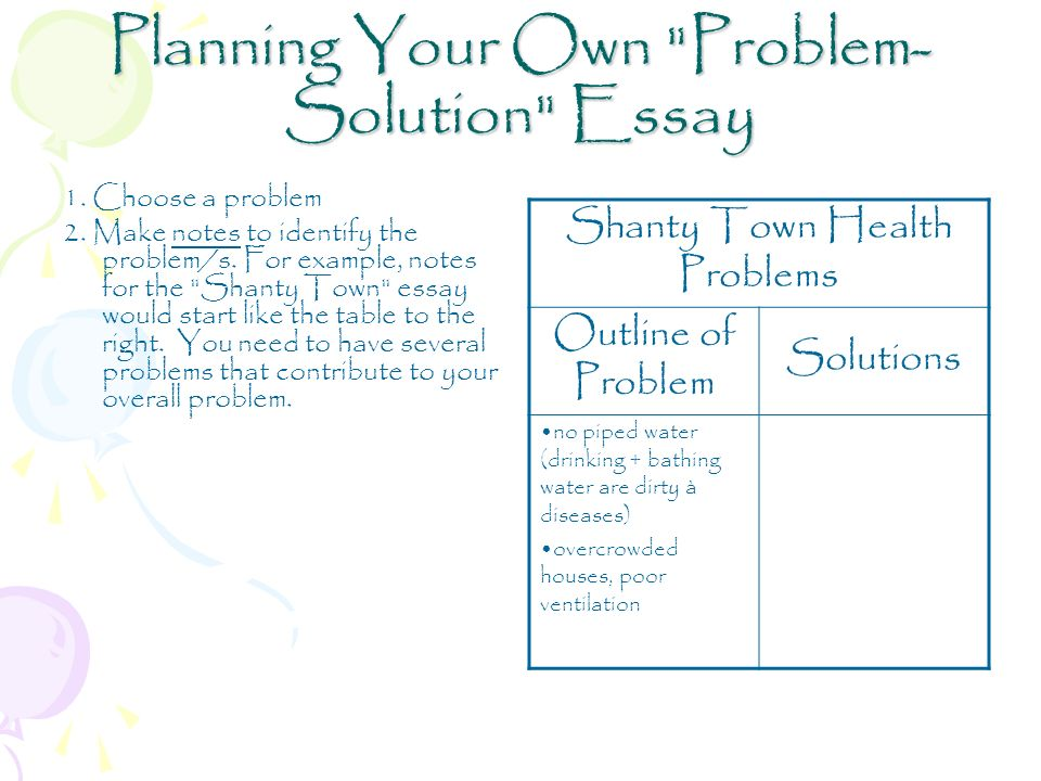 Example Of Problem And Solution Essay Problemsolution Pre Write Planning  Your Own Problem Solution Essay Example