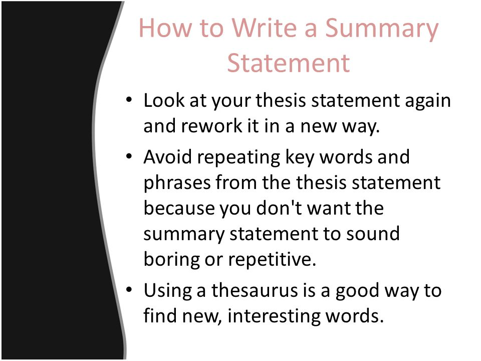 How to Write a Good Thesis Statement