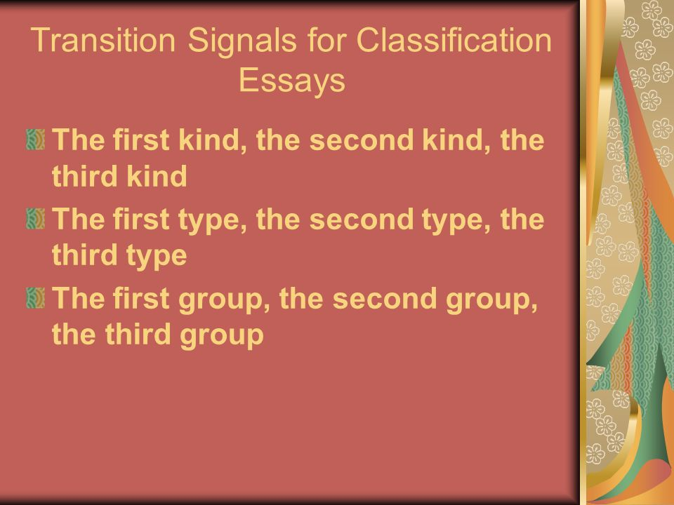 classification essay on types of jobs Classification essay: the types of drinkers - i drink to make other people more interesting ― ernest hemingway in the great world of tending bar there is a myriad selection of customers one would encounter the social drinker, the self defined outcast, the fish out of water, and last but never the least, the freshman.