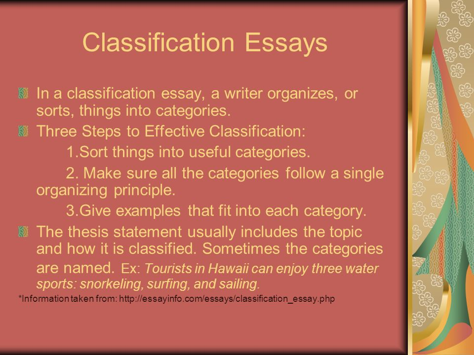 classification essay ppt Here are a couple of short classification paragraphs, in order to get you started with learning about how they should be formed and what they are remember: classification paragraphs start with a main idea, using the rest of the paragraph to explain a series of secondary ideas a first date can end.
