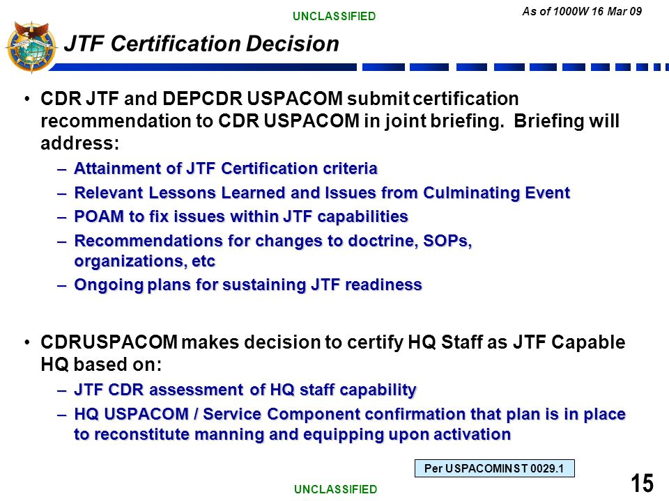 USPACOM READINESS OF JTF CAPABLE HQ - ppt download