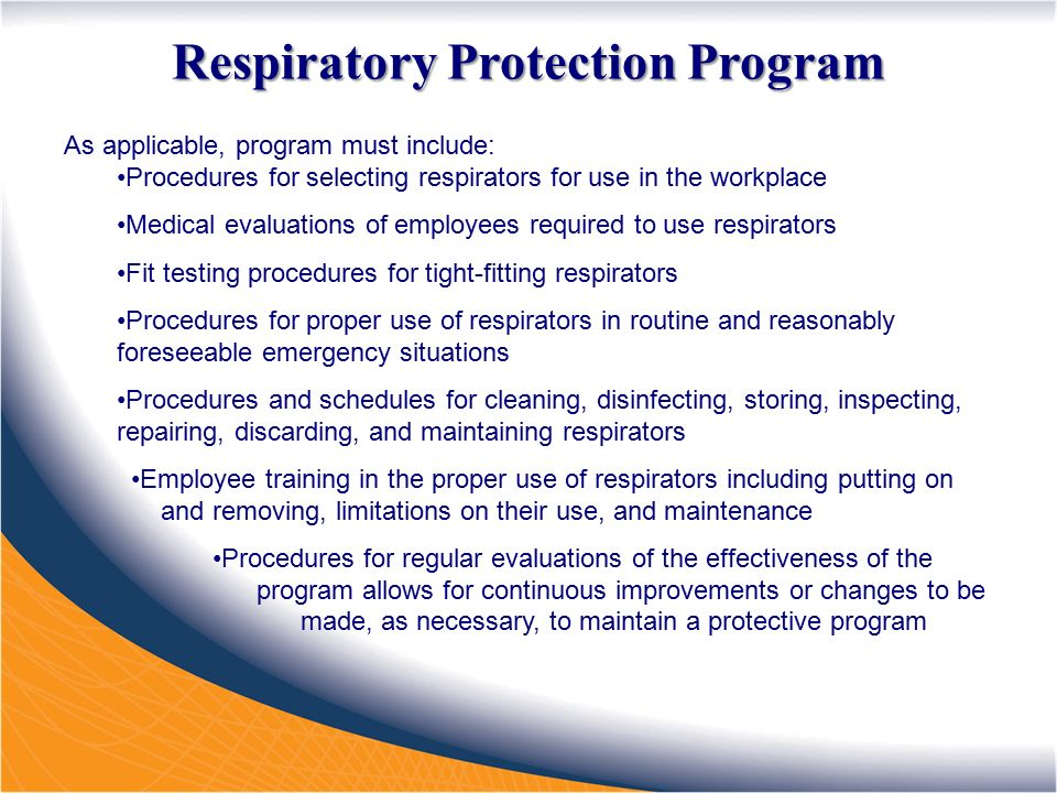 a study of respirators and respiratory protection for employees 2011-8-23  make sure your respiratory protection plan is comprehensive and up to date ensure that all employees who must use respiratory  air-purifying cartridge respirators.