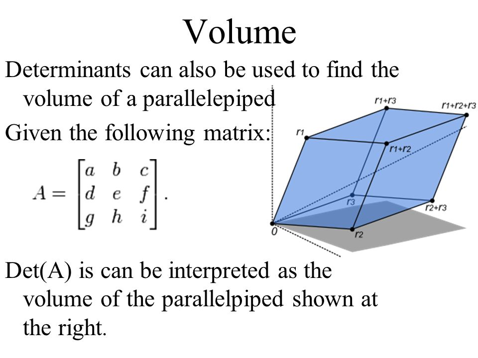 how to find volume of a parallelepiped
