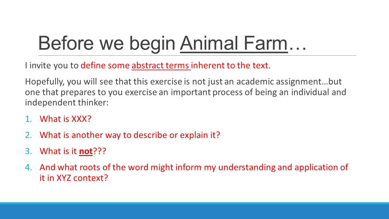 significance of language in animal farm philosophy essay Thesis statement / essay topic #1: the power of words, language through the impressive rhetorical and propaganda skills of squealer and the skillful manipulation of meaning by other (for a great essay on animal farm and lord of the flies in terms of their representations of.