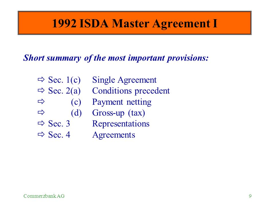 ISDA Master Agreement and Schedule