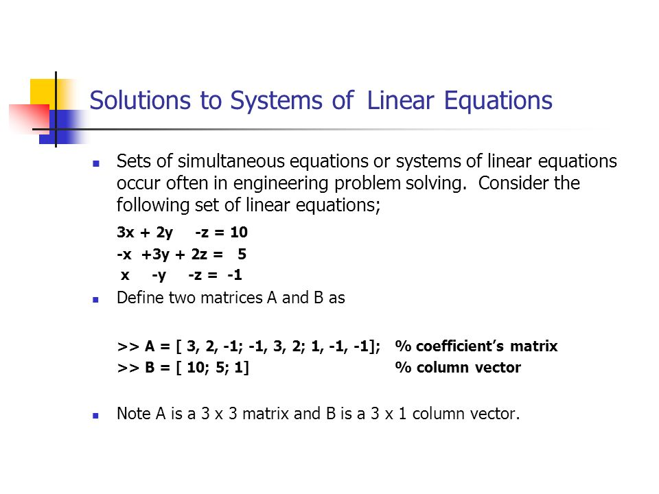 Solutions to Systems of Linear Equations