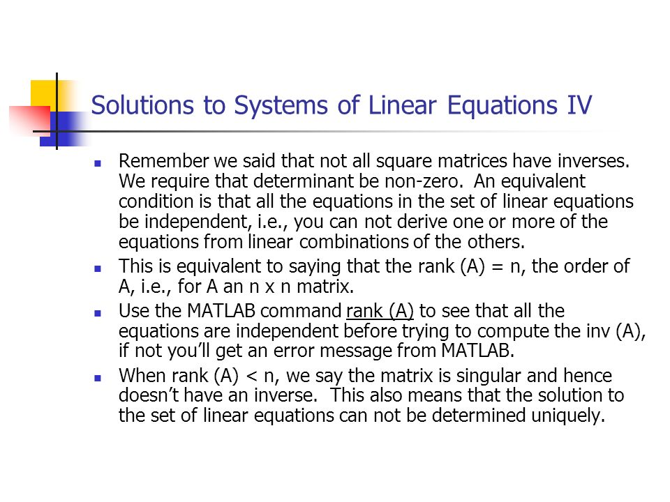 Solutions to Systems of Linear Equations IV
