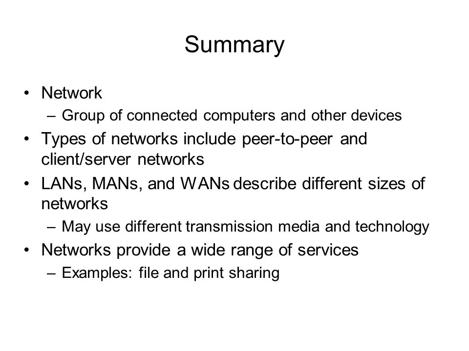 summary of a computer network and Overview of computer networking classes and courses many two- and four-year colleges and universities offer courses in computer networking this article provides an overview of the most commonly.