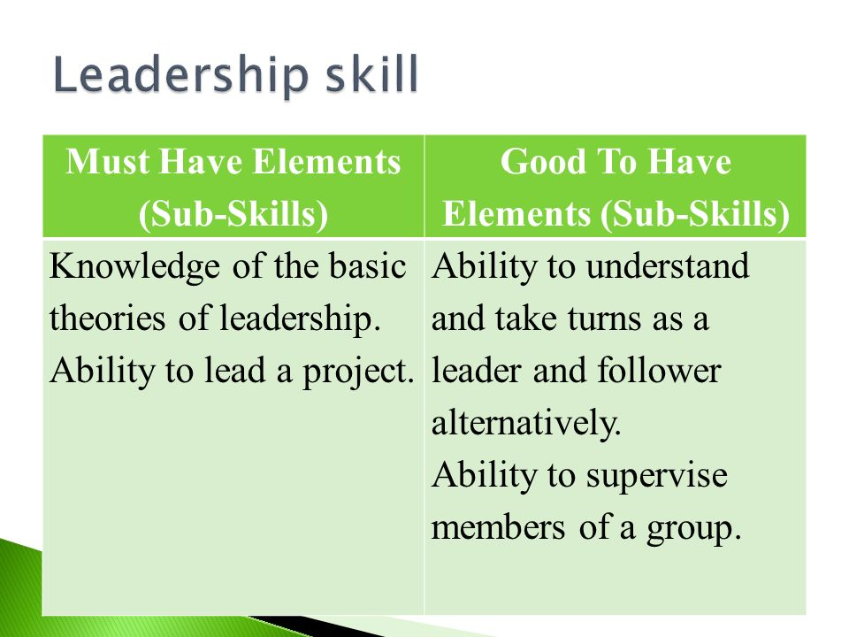 Must Have Elements (Sub-Skills) Good To Have Elements (Sub-Skills)