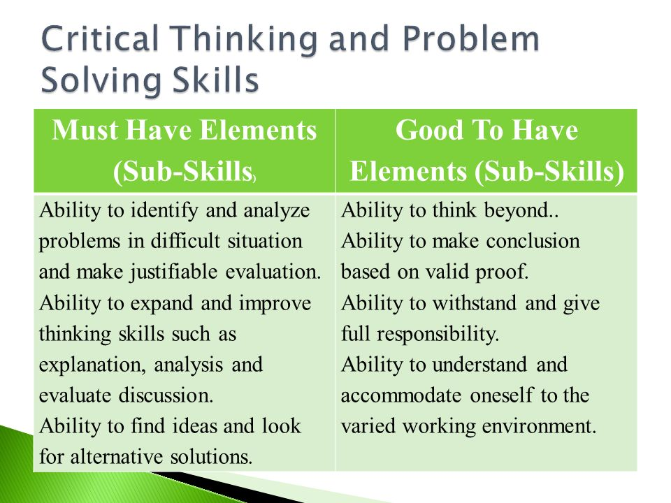 critical thinking and problem solving skills in the workplace Start studying chapter 15: critical thinking specific critical thinking a problem solving activity that focuses on defining developing critical thinking skills.