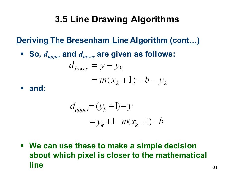 Bresenham Line Drawing Algorithm For Slope Less Than 1 : Computer graphics scc ppt video online download