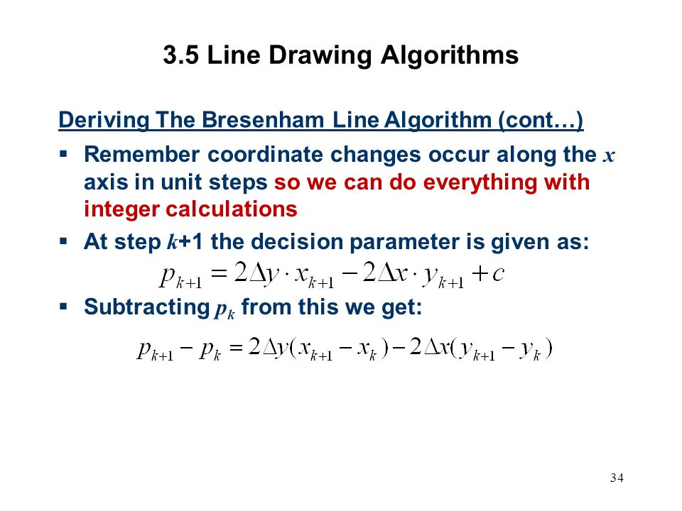 Bresenham Line Drawing Algorithm Decision Parameter : Computer graphics scc ppt video online download