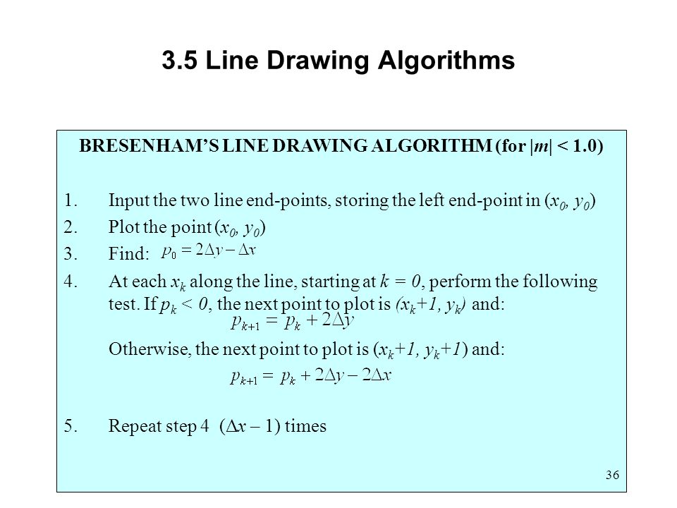 Generalized Bresenham S Line Drawing Algorithm Example : Computer graphics scc ppt video online download