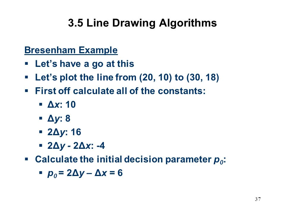 Bresenham Line Drawing Algorithm Example : Computer graphics scc ppt video online download
