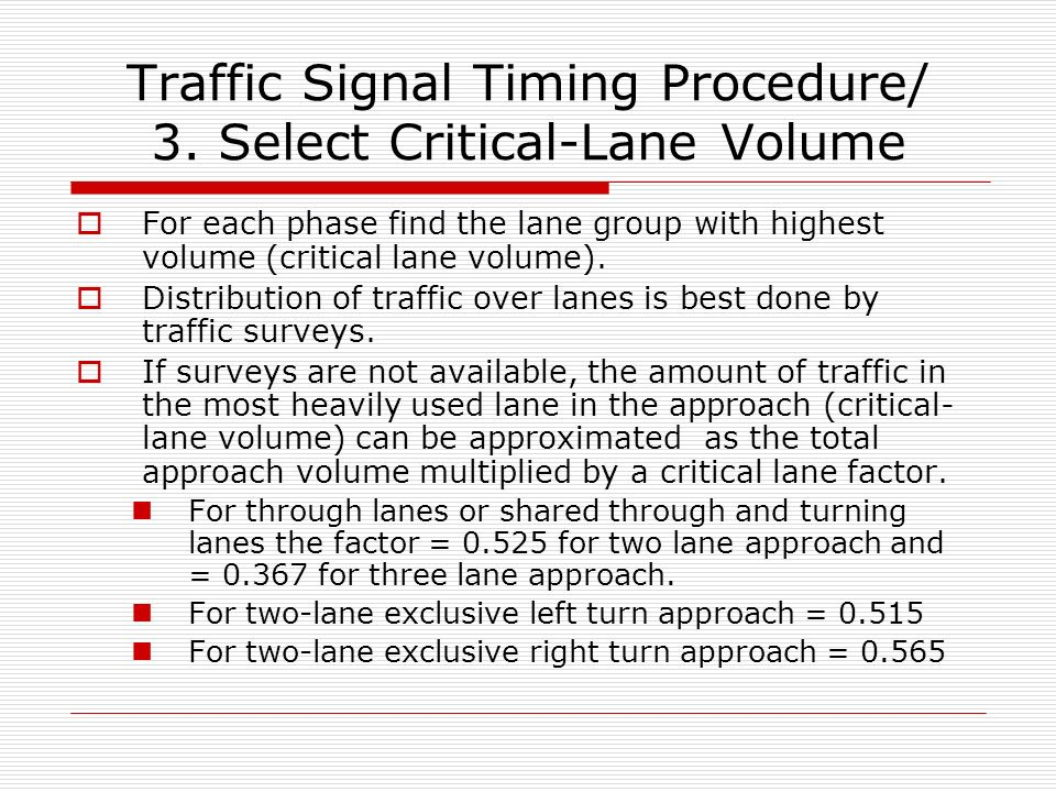 Intersection control signal timing for different color select critical lane volume ccuart Image collections
