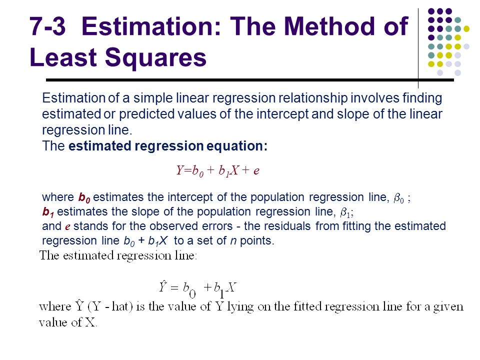 linear least squares Obtaining uncertainty measures on slope and intercept  à, least squares estimator of the intercept - the intercept of the ordinary least squares best‐fit line.