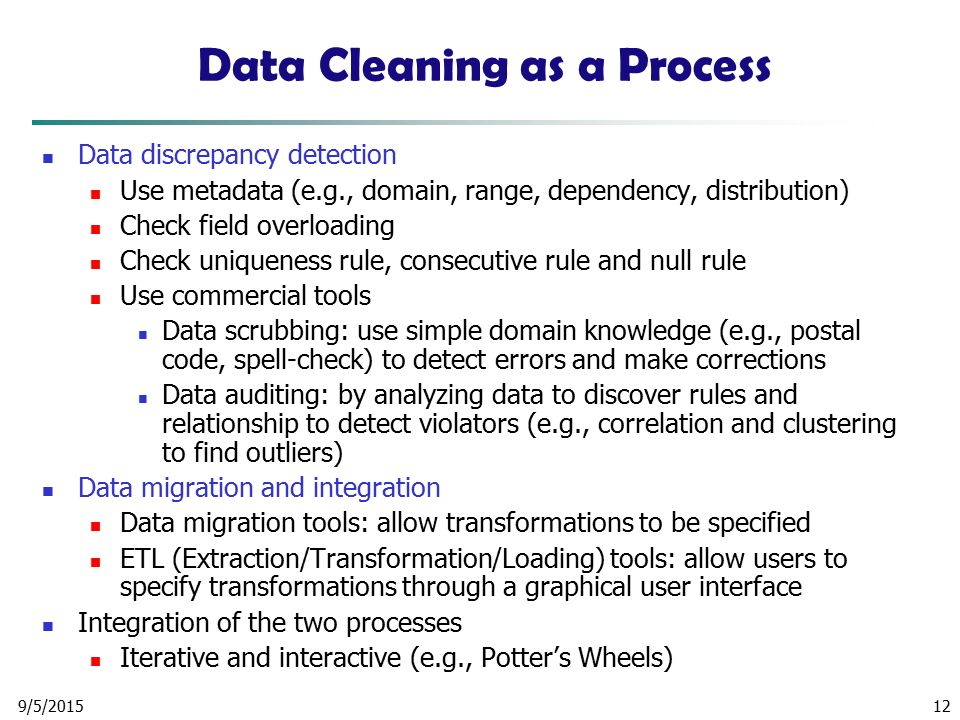 Data Cleaning as a Process
