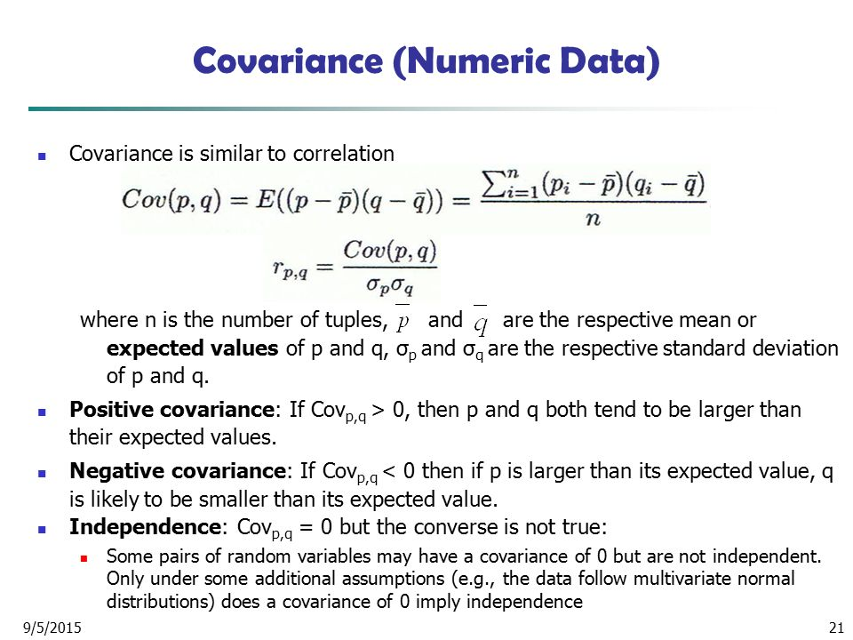 Covariance (Numeric Data)
