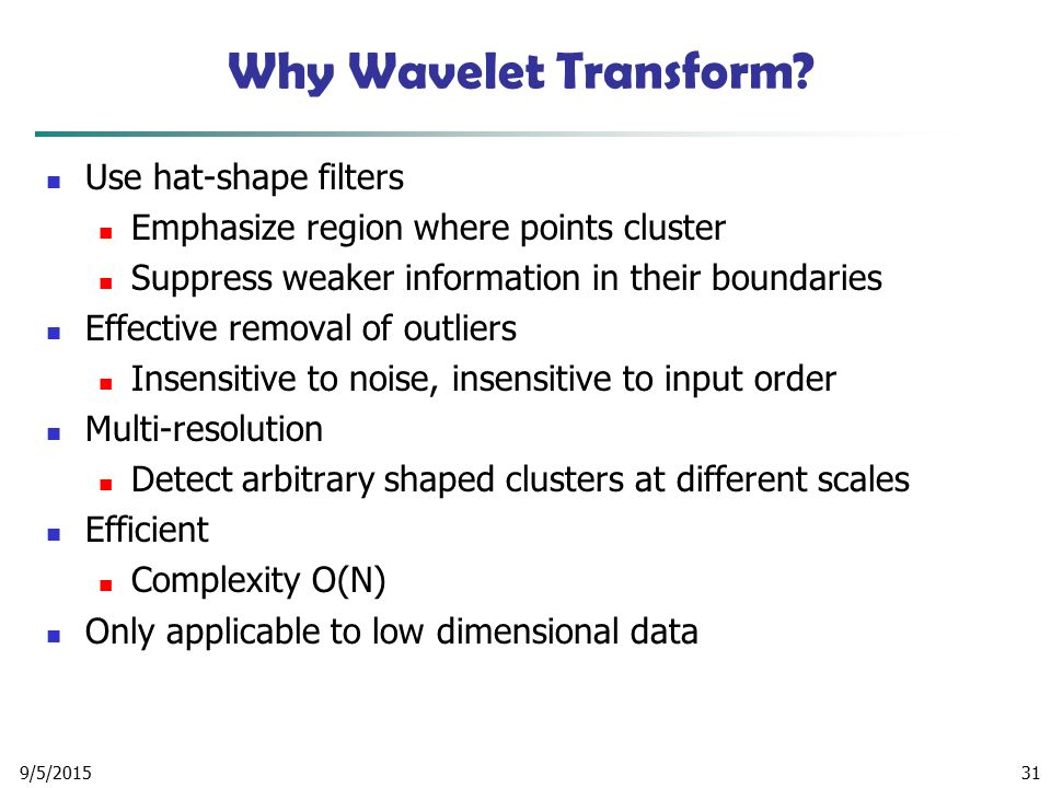 Why Wavelet Transform Use hat-shape filters