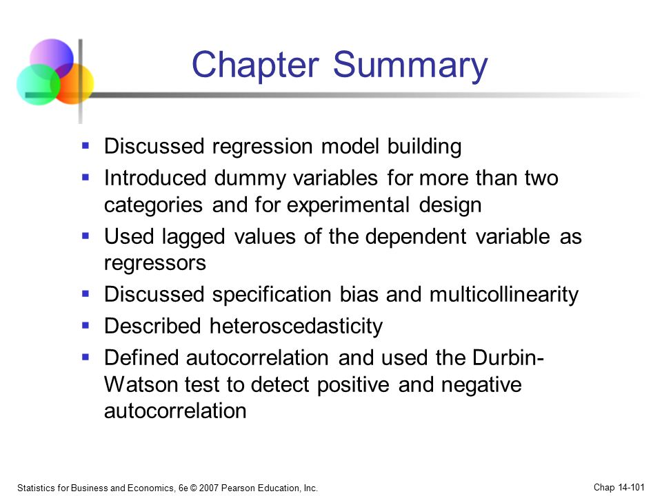 Chapter Summary Discussed regression model building
