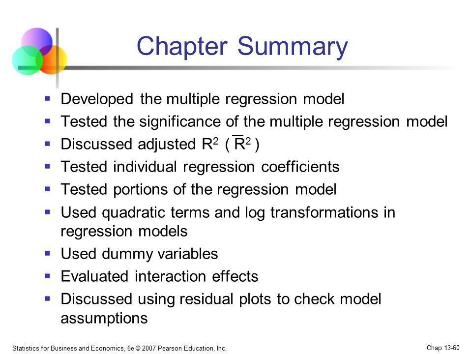 Chapter Summary Developed the multiple regression model